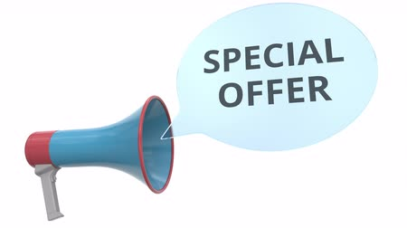 объявлять : Blue megaphone with SPECIAL OFFER message on speech bubble. Conceptual 3D animation
