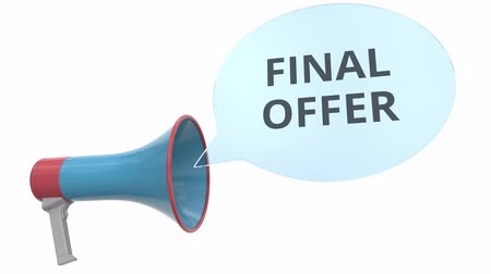 мегафон : Blue megaphone with FINAL OFFER message on speech bubble. Conceptual 3D animation