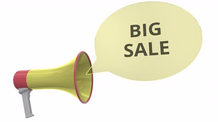 объявлять : Yellow megaphone with BIG SALE message on speech bubble. Conceptual 3D animation Стоковые видеозаписи