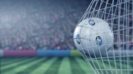 арена : Ball with Atalanta football club logo hits football goal net. Conceptual editorial 3D animation