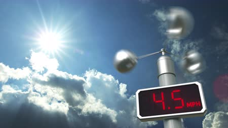 koşullar : Wind speed measuring anemometer displays 20 mph. Weather forecast related 3D animation
