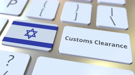 külföldi : CUSTOMS CLEARANCE text and flag of Israel on the buttons on the computer keyboard. Import or export related conceptual 3D animation Stock mozgókép