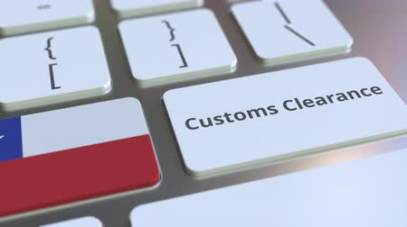 prohlášení : CUSTOMS CLEARANCE text and flag of Chile on the buttons on the computer keyboard. Import or export related conceptual 3D animation