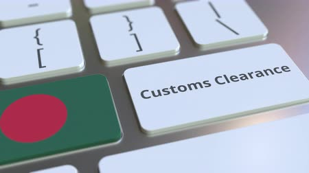 entry : CUSTOMS CLEARANCE text and flag of Bangladesh on the buttons on the computer keyboard. Import or export related conceptual 3D animation Stock Footage