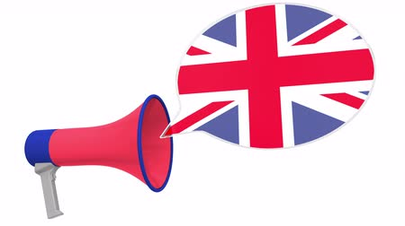 fráze : Megaphone and flag of Great Britain on the speech bubble. Language or national statement related conceptual 3D animation