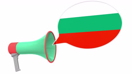 aksan : Megaphone and flag of Bulgaria on the speech bubble. Language or national statement related conceptual 3D animation