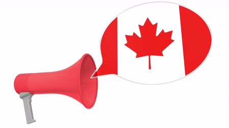 aksan : Megaphone and flag of Canada on the speech bubble. Language or national statement related conceptual 3D animation Stok Video