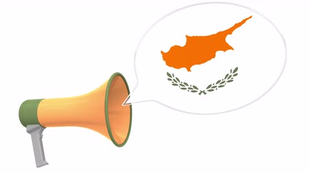 fráze : Megaphone and flag of Cyprus on the speech bubble. Language or national statement related conceptual 3D animation
