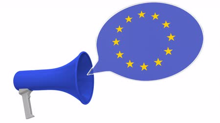 dialect : Loudspeaker and flag of the European Union on the speech balloon. Language or national statement related conceptual 3D animation