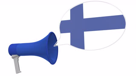 aksan : Loudspeaker and flag of Finland on the speech balloon. Language or national statement related conceptual 3D animation Stok Video
