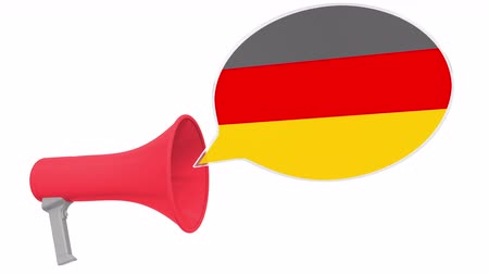dialect : Loudspeaker and flag of Gemany on the speech bubble. Language or national statement related conceptual 3D animation