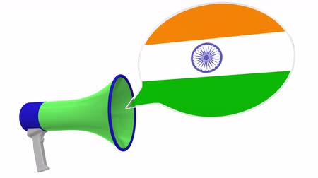 frase : Loudspeaker and flag of India on the speech bubble. Language or national statement related conceptual 3D animation