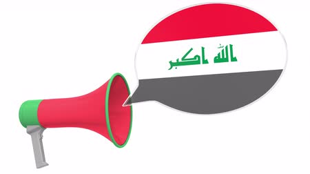 aksan : Loudspeaker and flag of Iraq on the speech bubble. Language or national statement related conceptual 3D animation Stok Video