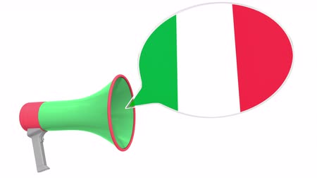 dialect : Loudspeaker and flag of Italy on the speech bubble. Language or national statement related conceptual 3D animation