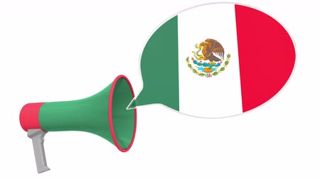 dialect : Loudspeaker and flag of Mexico on the speech balloon. Language or national statement related conceptual 3D animation