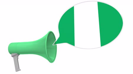 aksan : Megaphone and flag of Nigeria on the speech balloon. Language or national statement related conceptual 3D animation Stok Video
