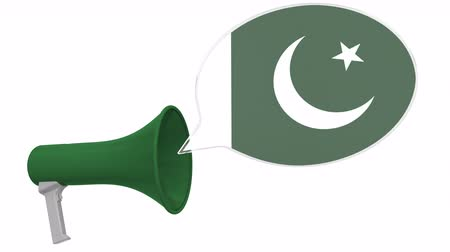 frase : Megaphone and flag of Pakistan on the speech balloon. Language or national statement related conceptual 3D animation Vídeos