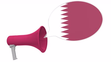 dialect : Megaphone and flag of Qatar on the speech bubble. Language or national statement related conceptual 3D animation