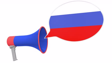 aksan : Loudspeaker and flag of Russia on the speech bubble. Language or national statement related conceptual 3D animation Stok Video