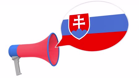dialect : Loudspeaker and flag of Slovakia on the speech bubble. Language or national statement related conceptual 3D animation