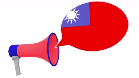dialect : Loudspeaker and flag of Taiwan on the speech balloon. Language or national statement related conceptual 3D animation