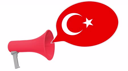 frase : Loudspeaker and flag of Turkey on the speech bubble. Language or national statement related conceptual 3D animation