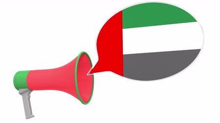 aksan : Loudspeaker and flag of the United Arab Emirates UAE on the speech bubble. Language or national statement related conceptual 3D animation
