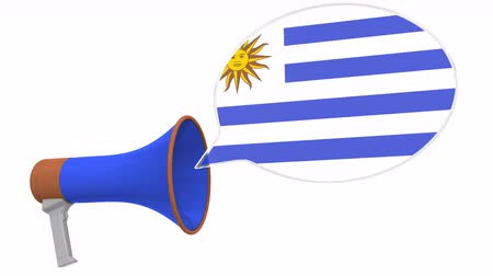 dialect : Megaphone and flag of Uruguay on the speech bubble. Language or national statement related conceptual 3D animation