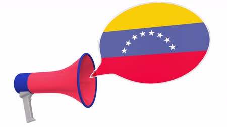 aksan : Megaphone and flag of Venezuela on the speech bubble. Language or national statement related conceptual 3D animation Stok Video