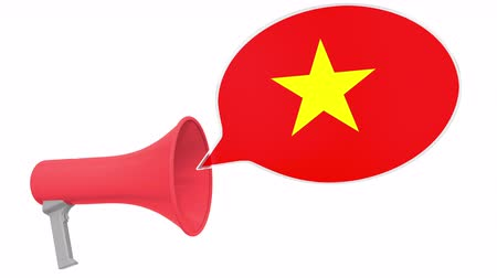 aksan : Megaphone and flag of Vietnam on the speech bubble. Language or national statement related conceptual 3D animation