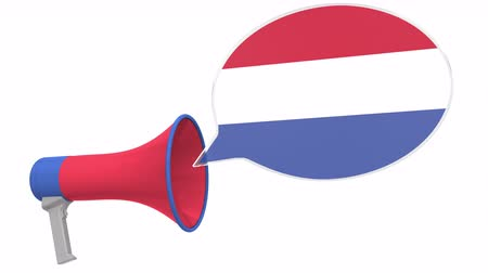 dialect : Megaphone and flag of the Netherlands on the speech balloon. Language or national statement related conceptual 3D animation