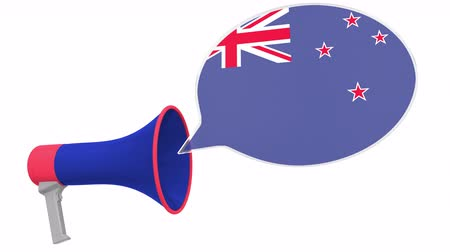Речь воздушный шар : Megaphone and flag of New Zealand on the speech balloon. Language or national statement related conceptual 3D animation Стоковые видеозаписи