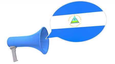 dialect : Megaphone and flag of Nicaragua on the speech balloon. Language or national statement related conceptual 3D animation