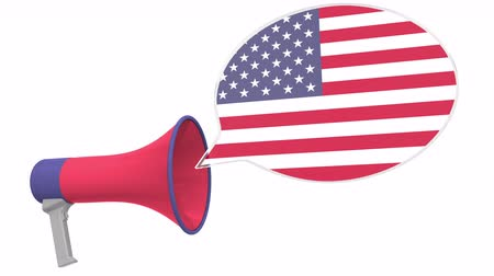 aksan : Megaphone and flag of the United States on the speech bubble. Language or national statement related conceptual 3D animation Stok Video