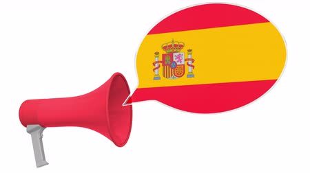 dialect : Loudspeaker and flag of Spain on the speech balloon. Language or national statement related conceptual 3D animation