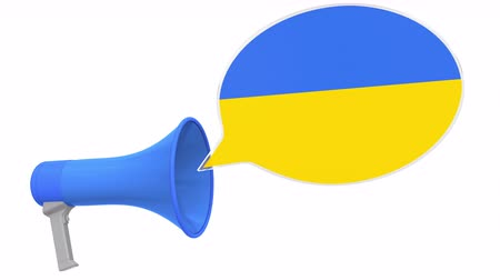 aksan : Megaphone and flag of Ukraine on the speech bubble. Language or national statement related conceptual 3D animation