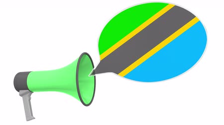 aksan : Loudspeaker and flag of Tanzania on the speech balloon. Language or national statement related conceptual 3D animation Stok Video