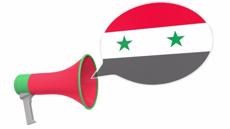 dialect : Loudspeaker and flag of Syria on the speech balloon. Language or national statement related conceptual 3D animation