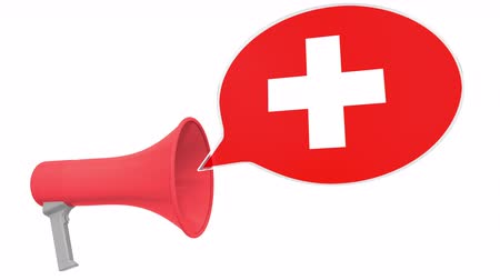 dialect : Loudspeaker and flag of Switzerland on the speech balloon. Language or national statement related conceptual 3D animation Stock Footage