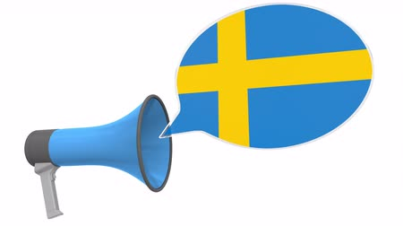dialect : Loudspeaker and flag of Sweden on the speech balloon. Language or national statement related conceptual 3D animation