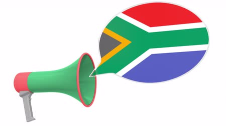 dialect : Loudspeaker and flag of South Africa on the speech balloon. Language or national statement related conceptual 3D animation