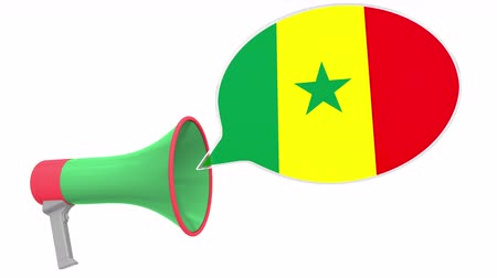 dialect : Loudspeaker and flag of Senegal on the speech bubble. Language or national statement related conceptual 3D animation