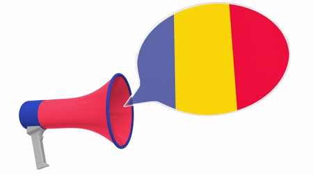 dialect : Loudspeaker and flag of Romania on the speech bubble. Language or national statement related conceptual 3D animation Stock Footage