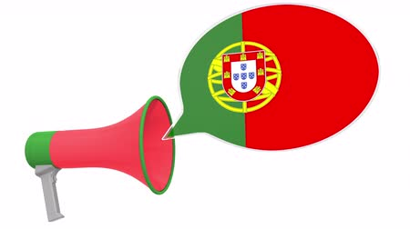 dialect : Megaphone and flag of Portugal on the speech bubble. Language or national statement related conceptual 3D animation