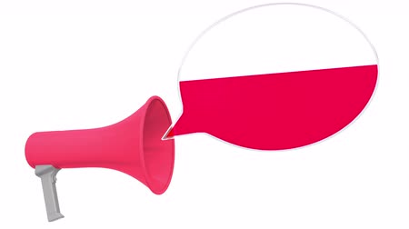dialect : Megaphone and flag of Poland on the speech bubble. Language or national statement related conceptual 3D animation