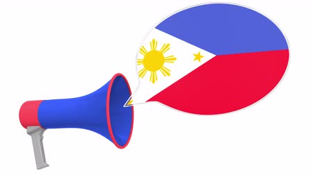 frase : Megaphone and flag of Philippines on the speech bubble. Language or national statement related conceptual 3D animation