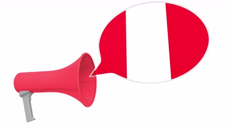 dialect : Megaphone and flag of Peru on the speech bubble. Language or national statement related conceptual 3D animation