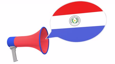 aksan : Megaphone and flag of Paraguay on the speech bubble. Language or national statement related conceptual 3D animation Stok Video
