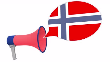 aksan : Megaphone and flag of Norway on the speech balloon. Language or national statement related conceptual 3D animation