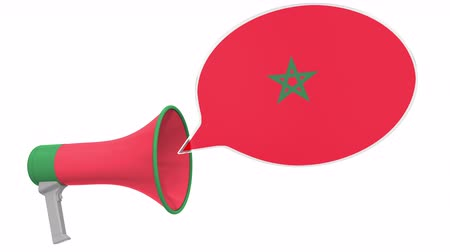 dialect : Loudspeaker and flag of Morocco on the speech balloon. Language or national statement related conceptual 3D animation Stock Footage